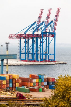 Photo for View of container crane in ship port at day - Royalty Free Image