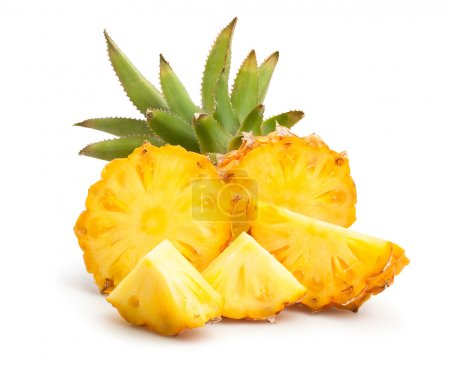 Photo for Close-up of fresh pineapple slices isolated on white background - Royalty Free Image