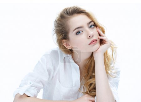 Photo for Beautiful girl with beautiful makeup, youth and skin care concept / photo of attractive blonde girl on white background - Royalty Free Image