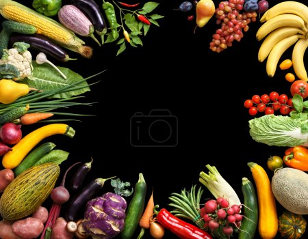 Photo for Deluxe eating background. Food photography different fruits and vegetables isolated black background. Copy space. High resolution product - Royalty Free Image