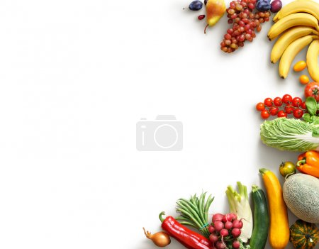 Photo for Healthy eating background. Food photography different fruits and vegetables isolated white background. Copy space. High resolution product - Royalty Free Image