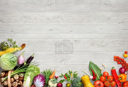 Photo for Organic food background. Studio photo of different fruits and vegetables on white wooden table. High resolution product. - Royalty Free Image