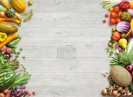 Photo for Healthy eating background. Studio photo of different fruits and vegetables on white wooden table. High resolution product. - Royalty Free Image