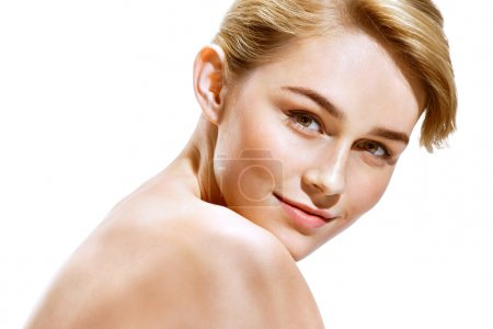 Beautiful Girl face. Perfect skin. Photo of attrac...