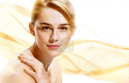 Photo for Beautiful Girl face on beige background. Perfect skin. Beauty & Spa Concept. - Royalty Free Image