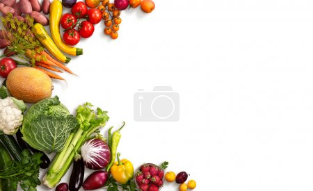 Foto de Studio photo of different fruits and vegetables on white backdrop - Imagen libre de derechos