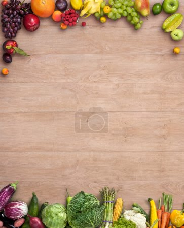 Photo for Studio photography of different fruits and vegetables on wooden table - Royalty Free Image