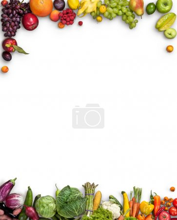 Photo for Studio photography of different fruits and vegetables on white backdrop - Royalty Free Image