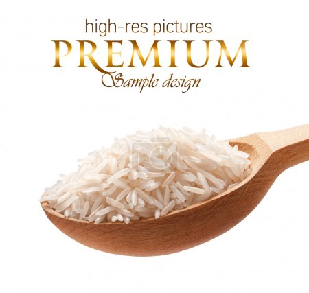Basmati rice in a wooden spoon
