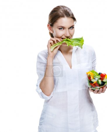 Healthy lifestyle woman eating salad smiling happy, healthy food concept