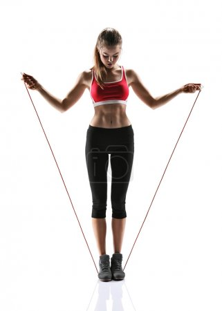 Fit girl with jump rope