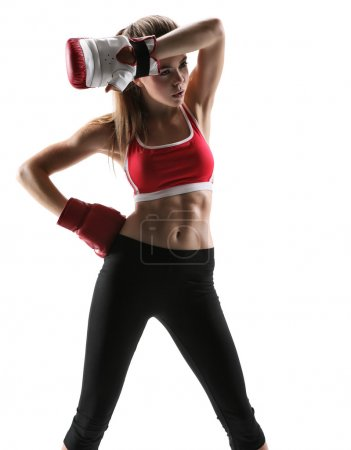 Photo set of sporty muscular female brunette girl ...