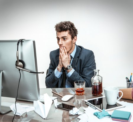 Man shocked looking what happened with his computer