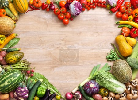 Photo for Heart shaped food / food photography of heart made from different fruits and vegetables on wooden table - Royalty Free Image
