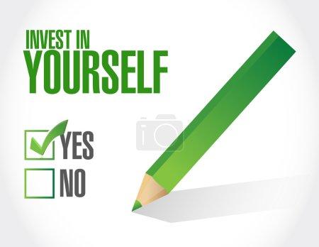 Photo pour Investir en vous-même signe approbation message illustration conception graphique - image libre de droit