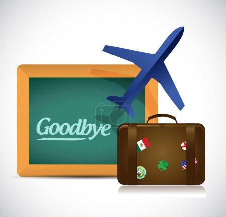Foto de Adiós viajes diseño de ilustración de signo sobre un fondo blanco - Imagen libre de derechos