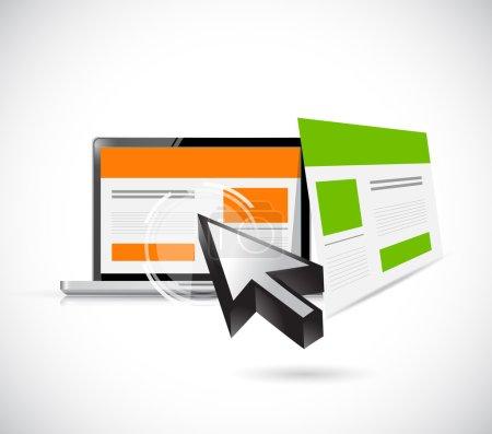Photo pour Modèles de site Web et conception d'illustration d'ordinateur sur un fond blanc - image libre de droit