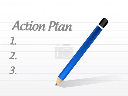 Photo pour Plan d'action liste illustration design sur fond blanc - image libre de droit