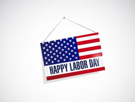 labor day us hanging flag illustration