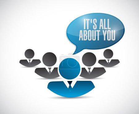 Photo pour Son tout sur vous. conception d'illustration de message de personnes au-dessus d'un fond blanc - image libre de droit
