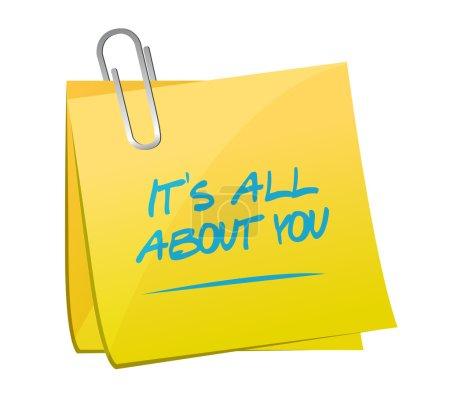Photo pour Son tout sur vous mémo post message illustration conception sur un fond blanc - image libre de droit