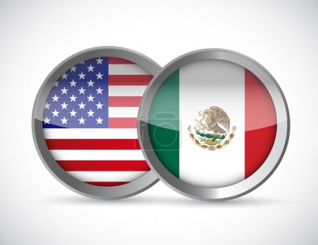 Photo pour Usa and mexico union seals illustration design over a white background - image libre de droit