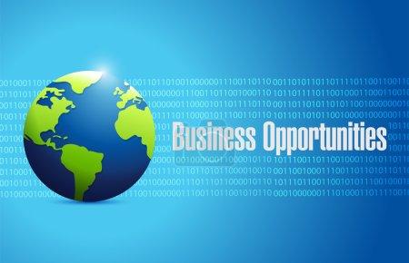 Photo pour Business opportunities globe sign illustration design over a blue binary background - image libre de droit