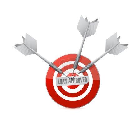 Loan approved target illustration design over a wh...