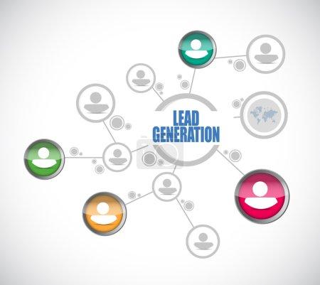 Photo pour Lead generation people illustration de réseau sur fond blanc - image libre de droit