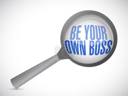 Photo pour Être votre propre patron magnifier illustration design sur un fond blanc - image libre de droit
