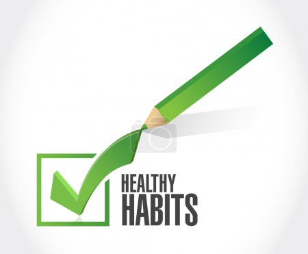 Photo for Healthy habits check sign concept illustration design over white - Royalty Free Image