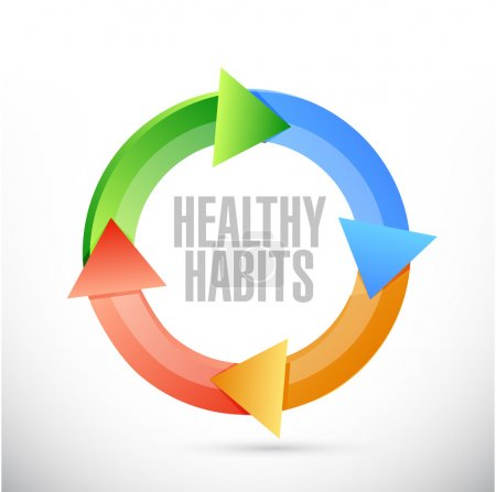 Photo for Healthy habits cycle sign concept illustration design over white - Royalty Free Image