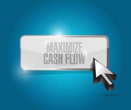 Photo pour Optimiser la conception de flux de trésorerie bouton signe illustration sur fond bleu - image libre de droit