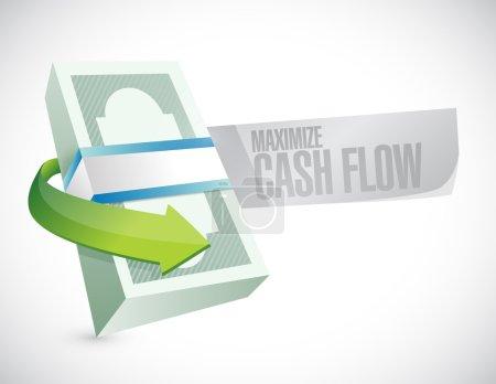 Photo pour Optimiser la conception de flux de trésorerie d'argent signe illustration sur fond blanc - image libre de droit