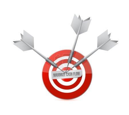 Photo pour Optimiser la conception de flux de trésorerie cible signe illustration sur fond blanc - image libre de droit