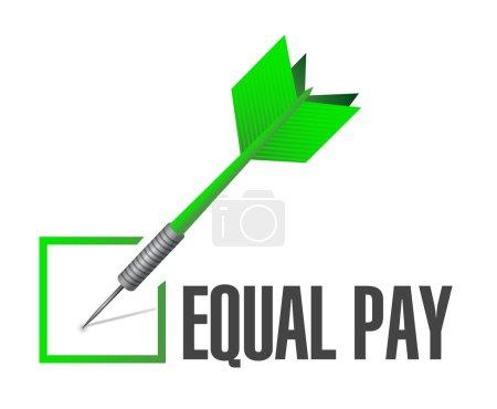 Photo pour Égalité de rémunération cocher dart signe illustration design White - image libre de droit