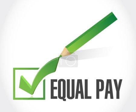 Photo pour Égalité de salaire vérifier la conception de signe de signe de marque de signe au-dessus du blanc - image libre de droit
