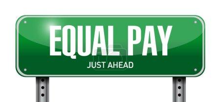 Photo pour Égalité de rémunération la conception des routes signe illustration sur blanc - image libre de droit