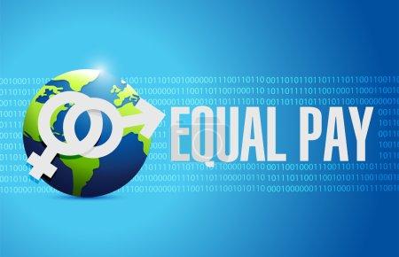 Photo pour Equal pay globe sign illustration design over binary background - image libre de droit