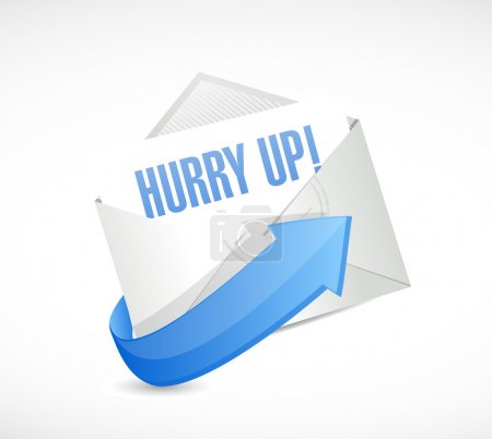 hurry up asap mail sign illustration
