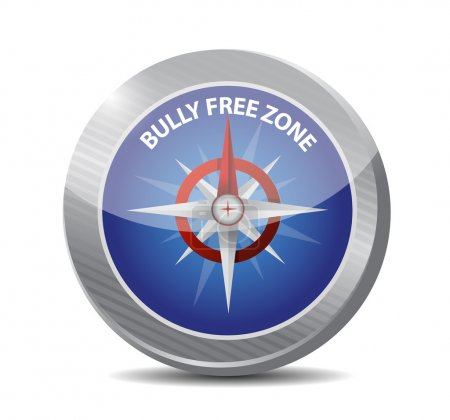 Photo for Bully free zone compass sign concept illustration design over white - Royalty Free Image