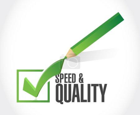 Foto de Diseño de ilustración de signo de marca de verificación de velocidad y calidad sobre blanco - Imagen libre de derechos