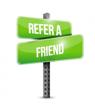 refer a friend road sign concept