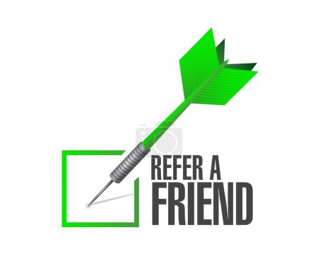 refer a friend check dart sign concept