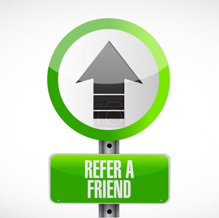 refer a friend up road sign concept