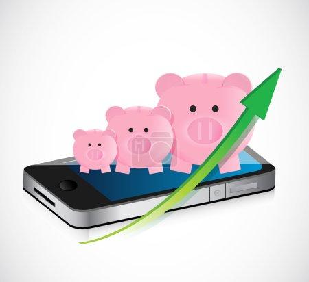 Piggy bank business graph and mobile phone illustr...
