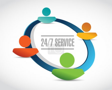 Photo pour 24-7 service personnes réseau signe concept illustration conception icône graphique - image libre de droit
