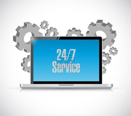 24-7 service tech computer sign concept