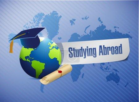 Photo pour Étudier à l'étranger globe signe carte du monde illustration conception graphique - image libre de droit