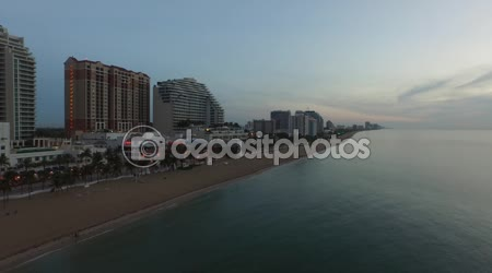 Aerial view of  Fort Lauderdale Beach at sundown. view from ocean